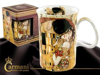 Taza Delgada En Porcelana 350 Ml El Beso Klimt Fondo Claro