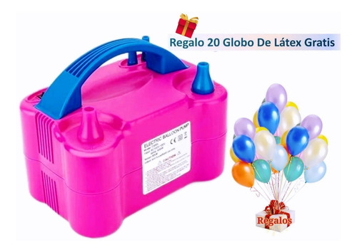 Imagen 1 de 10 de Bomba Eléctrica Para Inflar Globos+regalo 20 Globo De Látex