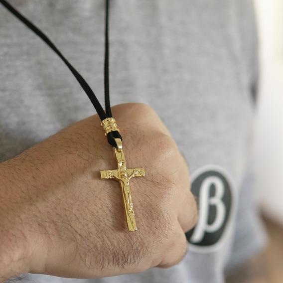 Crucifixo Masculino Cordão Camurça