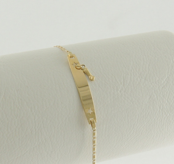 Pulseira Infantil Piastrine Feminina Nome 15 Cm Ouro 18k