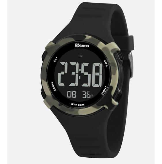 Relógio Masculino Digital Camuflado E Preto X-games Original