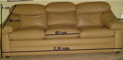 Sofa 3 Puestos Semicuero Ocre Claro