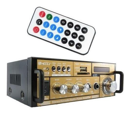 Amplificador Receiver 2 Canal Bluetooth Som Casa Loja Usb Sd