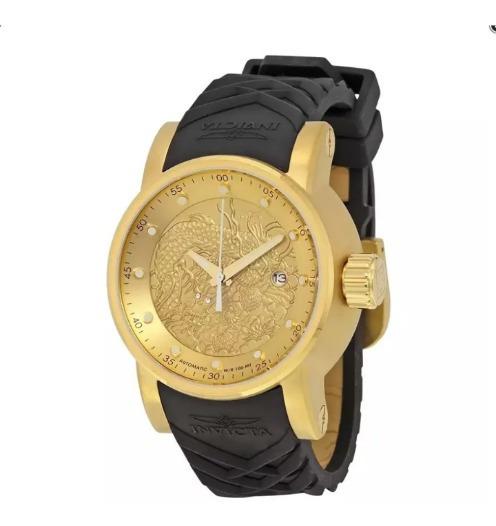 Relógio Invicta Yakuza Vidro De Safira Banhado A Ouro