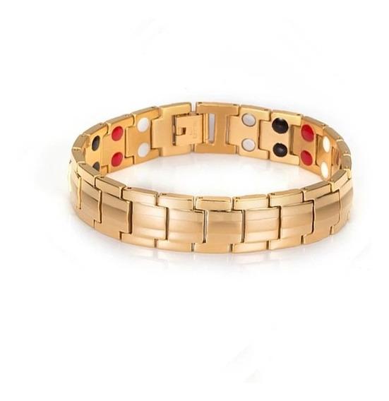 Pulseira Masculina Magnetica Equilibrio Dourada