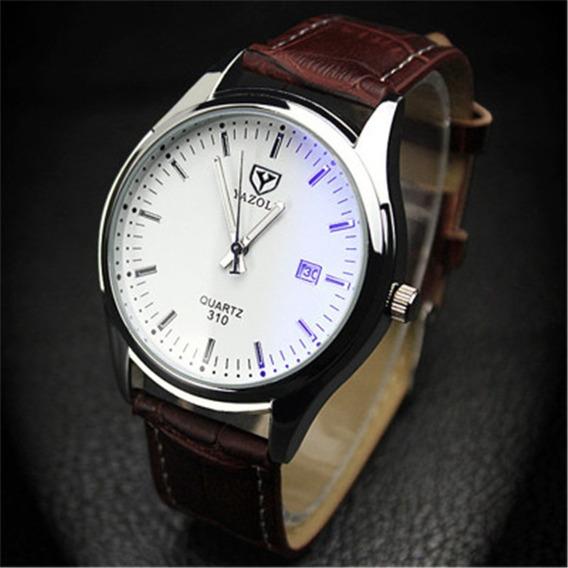 Reloj Para Hombre Blanco Acero Con Calendario Envió Gratis