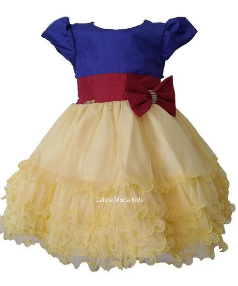 Vestido Branca De Neve Princesas Infantil De Festas 1 Ao 3