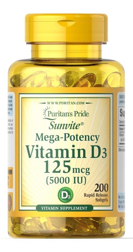 Vitamina D 5000 Ui - 200 Cápsulas - Unidad a $410