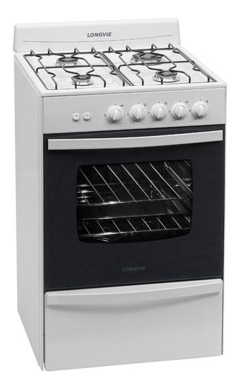 Cocina Longvie 13331BF 4 hornallas multigas blanca puerta visor 74L