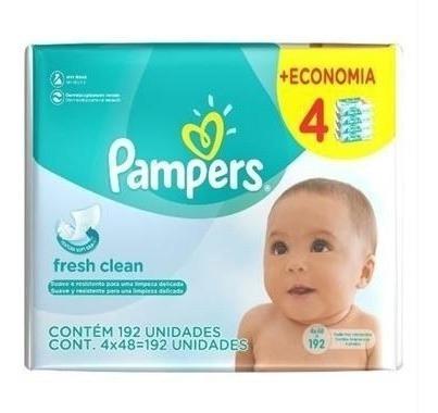 Lenços Umedecidos Pampers Fresh Clean Higiene Do Bebê 384u