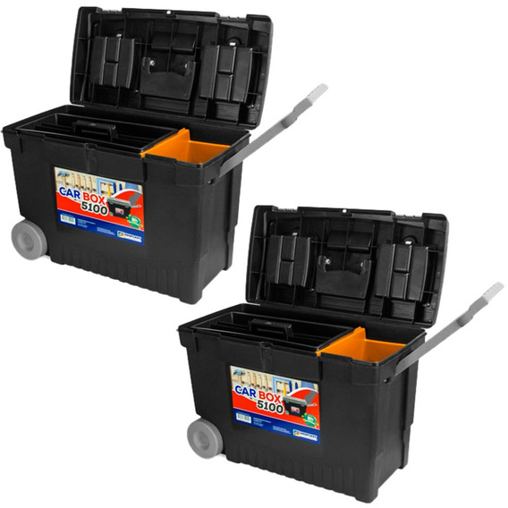 2 Caixas Baú Para Ferramentas C/ Rodas Arqplast Car Box 5100