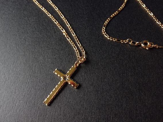 Corrente 60cm + Cruz Sem Cristo Banhado A Ouro 18k