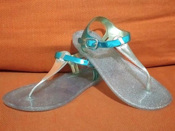 Sandalias Chanclas Jelly Plástico Metalizado No. 19 Detalles