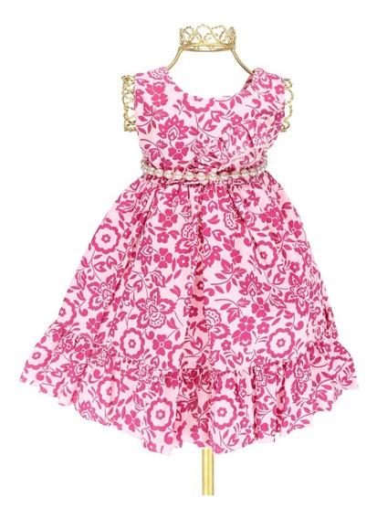 Vestido Bebê Princesa Luxo Estampa Floral Vinho Pérolas P113