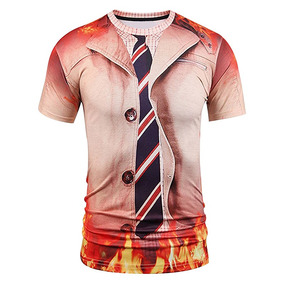 Camiseta Manga Corta, Informal, Con Divertido Estampado 3d