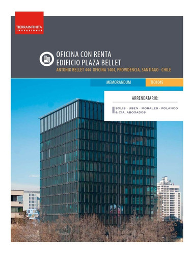 Oficina Con Renta - Edificio Plaza Bellet, Providencia