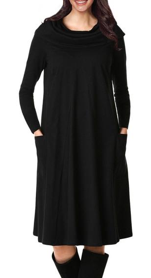 Vestido Casual Media Pierna Cuello Tipo Abrigo Y Manga610875