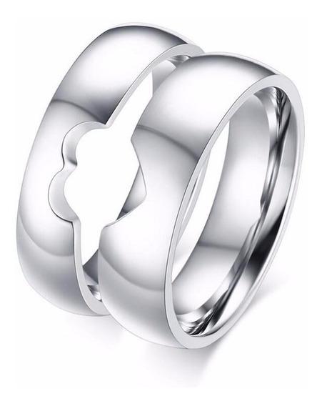 Par De Alianças De Compromisso Namoro Coração Em Prata 950