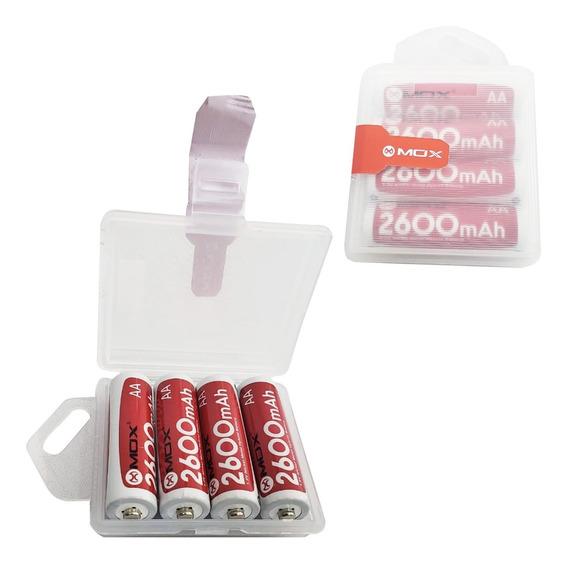 Kit Com 4 Pilhas Aa 2600mah Recarregáveis Mox Envio Ja