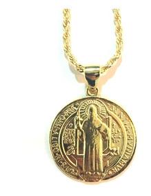 Colar Cordão Baiano Medalha São Bento Grande Banhada A Ouro