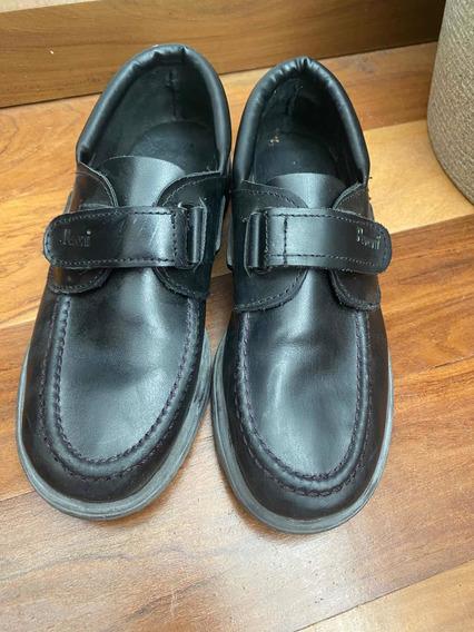 Zapato Colegial Cuero Legítimo Negro Talle 35 Impecables