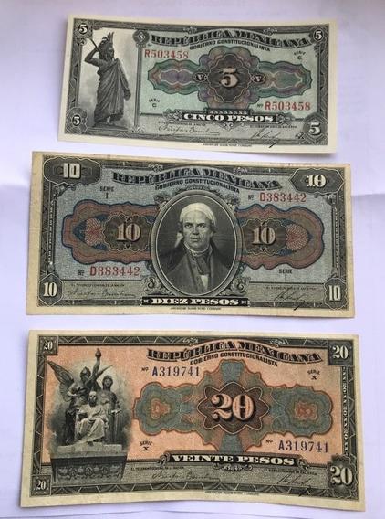 Billete $5 10 20 Pesos Republica Mexicana Lote 3 Pcs 1915