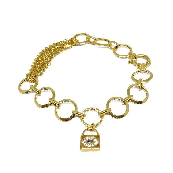 Pulseira Feminina Com Berloque De Bolsa Em Ouro 18k