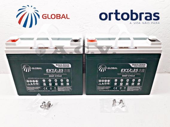02 Baterias Selada 12v 35ah Para Cadeira De Rodas Ortobras
