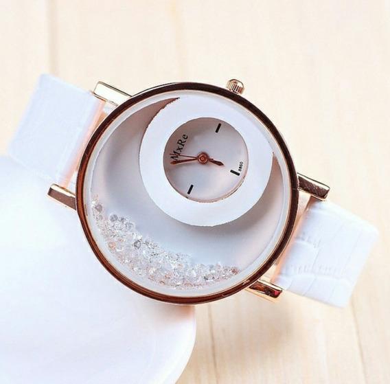 Relógio Feminino Couro Areia Strass Importado Promoção