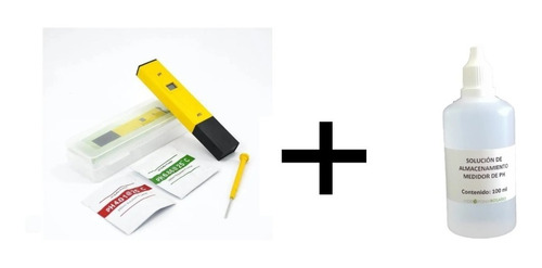 Imagen 1 de 3 de Kit Medidor De Ph Portatil Mas Solucion De Almacenamiento.