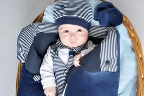 Kit Saída Maternidade Listrado Vermelho Com Saco De Dormir