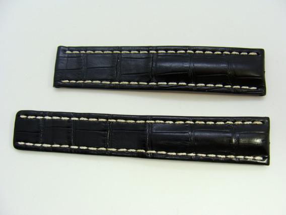 Pulseira Breitling 744pl Longa Crocodilo 22 Mm Deployant Aço
