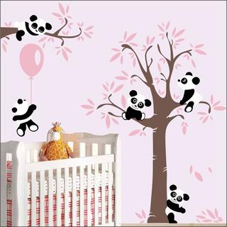 Adesivo Quarto Infantil Arvore Bebe Panda Zoo Md502