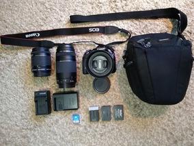 Canon Dslr Sl1 + 3 Lentes + Tripe + 3 Baterias