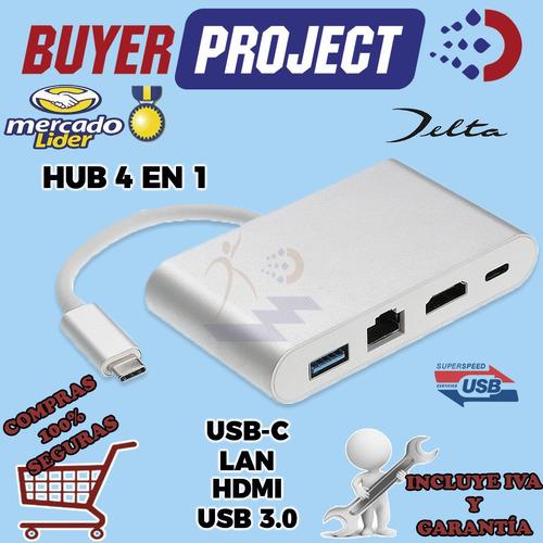 Adaptador Hub Delta Usb-c A Usb3.0 + Lan + Hdmi + Usb-c 4en1