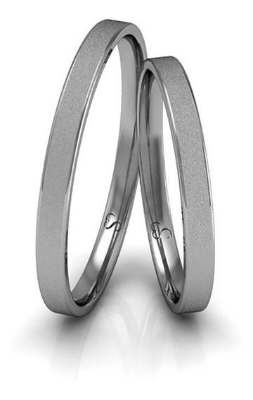 Alianças Casamento Ouro Branco Diamantadas 2mm 2g