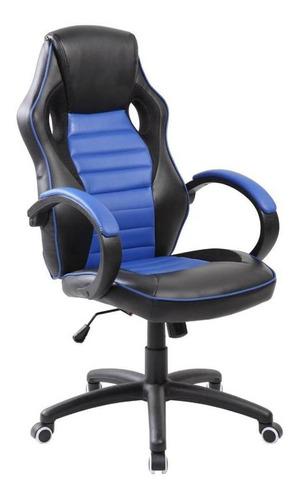 Imagen 1 de 1 de Silla de escritorio AyP Equipamientos Mónaco gamer ergonómica  azul y negra con tapizado de cuero sintético