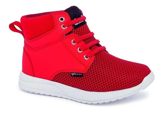 Tenis Tipo Bota Para Niño Color Rojo Diseño De Tela De Malla