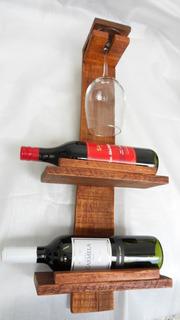 Vinoteca Rústica Para Colgar.barnizada - P/2 Botellas Y Copa