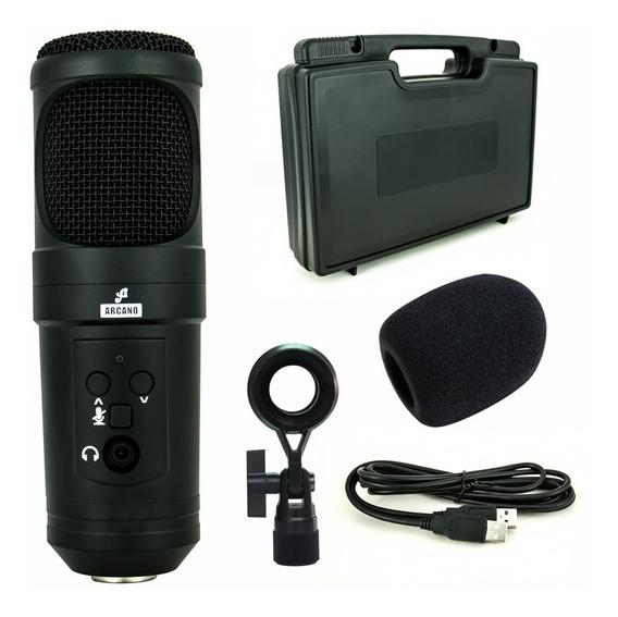 Arcano Microfone P/ Estúdio Ar-u200-sb Completo C/ Cabo Usb