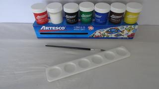 Tempera Artesco 7 Colores Con Paleta Y Pincel