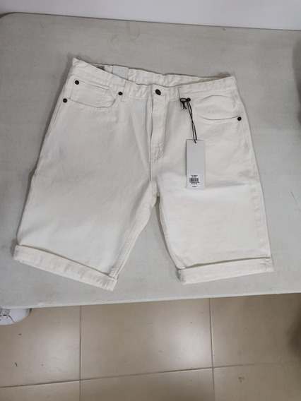 Bermuda Short Hombre Caballero Blanco White Trd Tms02019