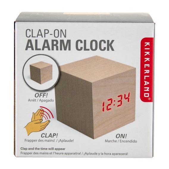 Reloj Cubo Alarma Led Despertador Madera Kikkerland Digital