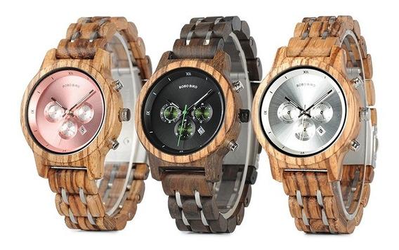 Relógio Unissex Quartzo Madeira Bambu Bobo Bird Promoção