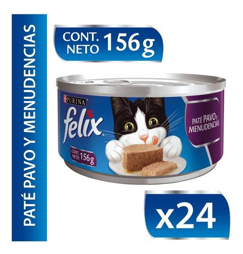 Alimento Húmedo Para Gato Felix® Paté Pavo  Menudencias Lata