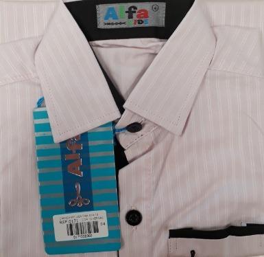 Camisa Infantil Alfa Menino Luxo Listras Algodão 4 Cores 171