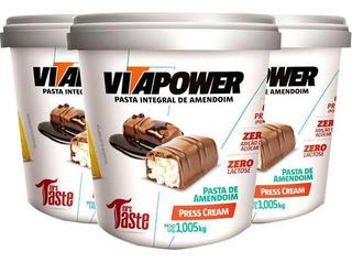 Pasta De Amendoim Integral Press Cream Vitapower 1kg - 3 Un