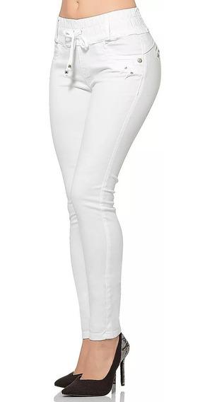 Pantalon De Gabardina Fergino Pretina Ancha Con Jareta En Blanco, Olivo, Khaki O Marino