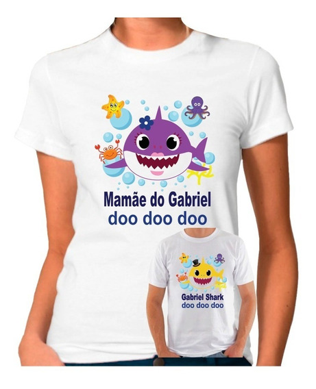Camiseta Personalizada Aniversário Baby Shark Kit/6 Peças