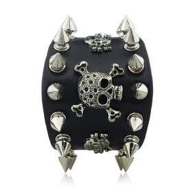 Bracelete Munhequeira Pulseira Couro Rock Punk Spike Preto